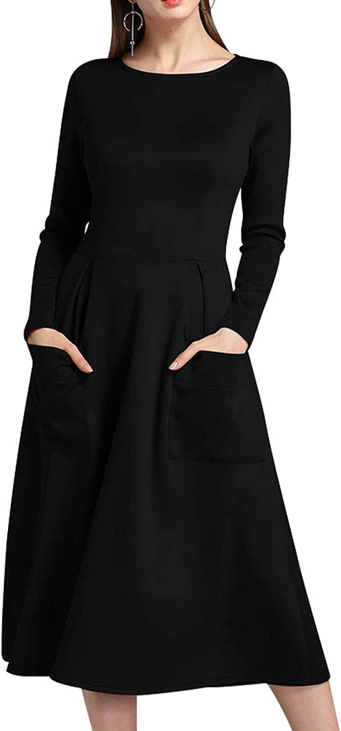 I'll NEVER BE HER Autumn 2018 Elegant Women Sexy Dress ONeck Long Sleeve Slim Maxi Dress Thin Zip Pocket Long Dress