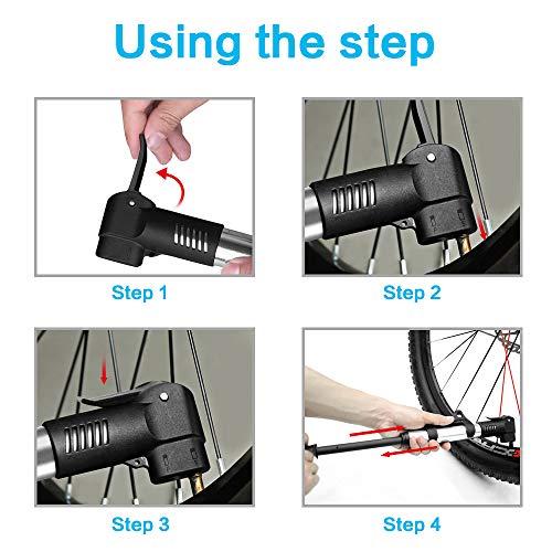 synmixx Mini Fahrradpumpe Fahrrad Luftpumpe für Fahrrad Max Druck 120 PSI/8 bar mit Presta & Schrader Minipumpen für Rennrad, Mountainbike - 6