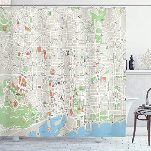 ABAKUHAUS Mapa Cortina de Baño, Las Calles de Barcelona Parques, Material Resistente al Agua Durable Estampa Digital, 175 x 200 cm, Verde Lima Azul pálido