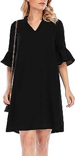 Yidarton Women's Short Sleeve T Shirt Dress V Neck Casual Chiffon Swing Dresses