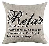 Simple negro Big Relax significado explicación palabras carta vacaciones regalos lino y algodón manta decorativa Funda de almohada Funda para cojín cuadrado 45,72cm x 45,72cm