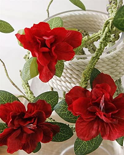 WANGJBH Trockenblumen Luxus Azaleen Künstlichen Baum zweige weiß kuckucke langform stem willkürliche Biege Rattan seidenblumen für wohnkultur Künstliche Blume (Farbe : Red)