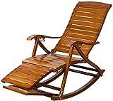 Tumbona, sillones clásicos Tumbona/Mecedora Ocio, con Rueda de Masaje de pies Sillón Plegable para Adultos Reposapiés telescópico Reposapiés de bambú de Gravedad Cero【actualización】
