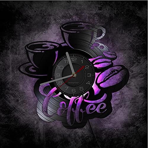 JKLMZYT Tazza di caffè con Fagiolo Disco in Vinile Orologio da Parete Home Bar Opere d'Arte Caffetteria Retro Dischi in Vinile Artigianato Orologio Barista Caffeina Regali