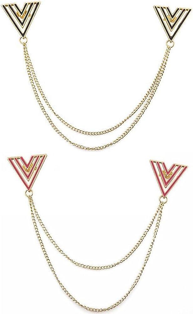 Harilla Set of 2 Gold Alloy Enamel Triangle Studs Blouse Shirt Collar Tip