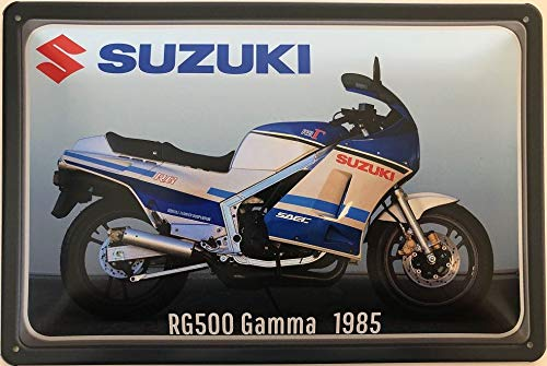 Deko7 blikken bord 30 x 20 cm motorfiets Suzuki type: RG500 Gamma 1985