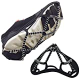 Redgril 1 Pair of Non-Slip Ice Snow Gripper Climbing Crampons Traction Cleats, Shoes Cover for Walking, Jogging, Hiking on Snow and Ice, Universal Size, Lightweight, with Safety Straps & Carry Bag