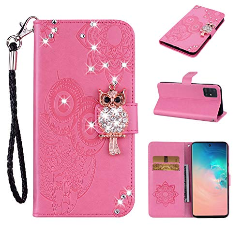 Strap Diamond Wallet Case for Samsung Galaxy A51,Aoucase Luxury 3D Owl Bling Gems Magnetic Cute Mandala Print PU Leather Soft TPU Stand Flip Case with Black Dual-use Pen - Pink
