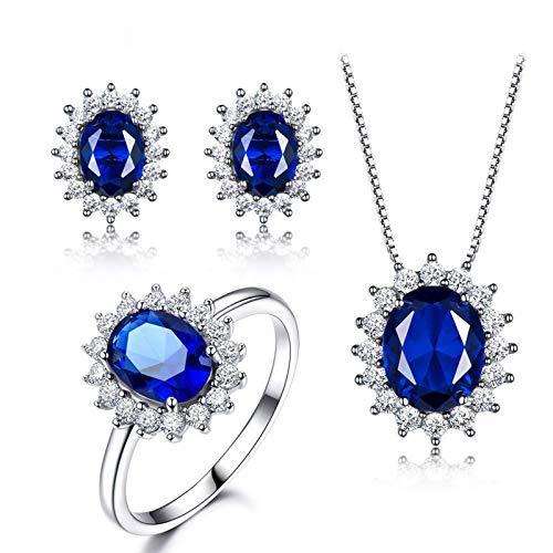 KnSam Anillo para mujer, collar de plata auténtica con girasol, set de boda de plata 925 para mujer con zafiro azul, Plata 925., Creado-Azul Zafiro,