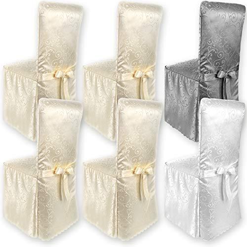 Gräfenstayn® Stuhlhusse Sofia mit Jacquard Muster und eingearbeiteter Schleife runde und eckige Stuhllehnen Universal-Passform (Creme)