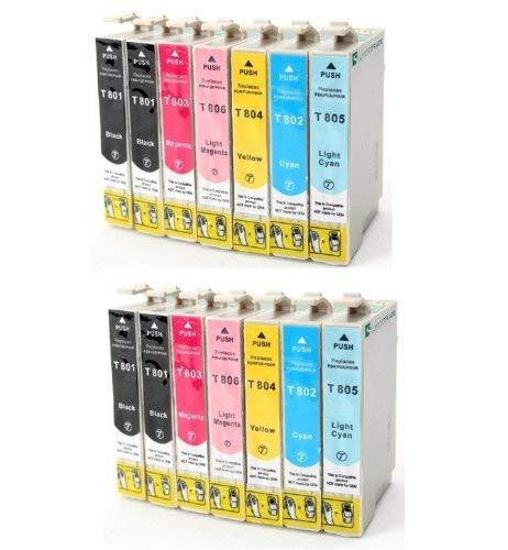 14 x kompatible Druckerpatronen zu Epson (T0801-T806) (4x Schwarz & 2x C/M/Y/Light-C/Light-M) für Epson Stylus Photo P50 PX650 PX700W PX710W PX720WD PX800FW PX810FW PX820FWD PX830FWD R265 R285 R360 RX560 RX585 RX685