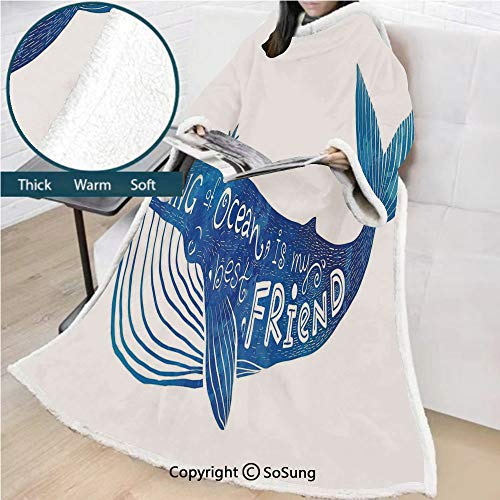 Whale Premium Sherpa Deluxe Fleece Blanket with Sleeves,Kind of Ocean is My Best Friend Quote with Whale Fish Paintbrush Artsy Picture Throws Wrap Robe Blanket for Adult Women,Men,Violet Blue White