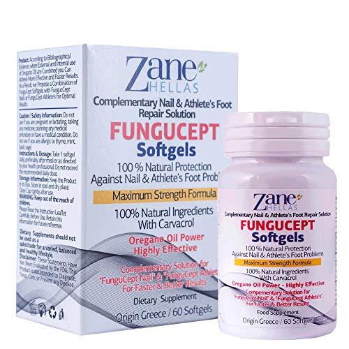 Zane Hellas FunguCept Softgels. Para obtener mejores y más rápidos resultados. Softgels de apoyo para el FunguCept Nail y el FunguCept Athlete's. 60 cápsulas blandas