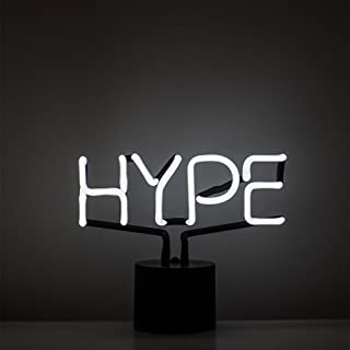 Amped & Co Hype Real Neon Light Novelty Desk Lamp, Large 9.6x8.3, White Glow