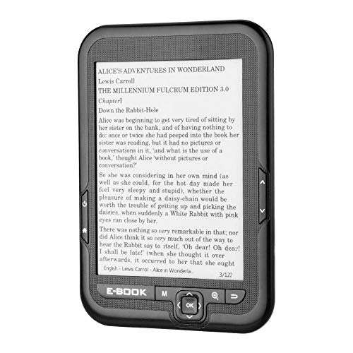 Lazmin112 Lettore di e-Book da 6 Pollici, Schermo e-Ink con risoluzione 800 * 600 Senza abbagliamento con Cavo USB Coperchio PU Supporto e-Reader TF Card(8G & Nero)