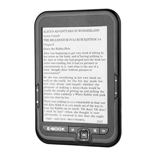 Denash E-Book Reader mit 6-Zoll-Display Tragbarer E-Book E-Paper E-Reader Paperwhite mit elektronischer Tintenanzeige(Gray 4GB)