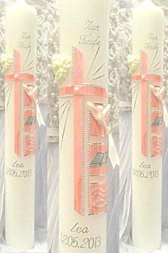 Taufkerze Kommunionkerze Junge Mädchen 400/40 mm VT-14 inkl. Zubehör für selbstbeschriften