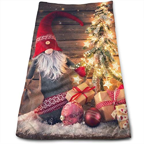 N/W Christmas Santa Claus Gnome Hand Towels for Bathroom 27.5'' X 12'' Soft Microfiber Towel Xmas Lights Gift Rustic Wooden Small Bath Towels Kitchen Dish Towel