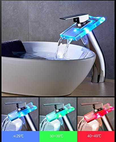 LED-Licht Glas mit Power Wasserfall Waschbecken Wasserhahn Becken Mischbatterie Messing Armatur LED Temperaturregelung Farbe Wasserfall Wasserhahn Kupfer Über Zähler Becken Licht Hohe Glasbassin Wasse