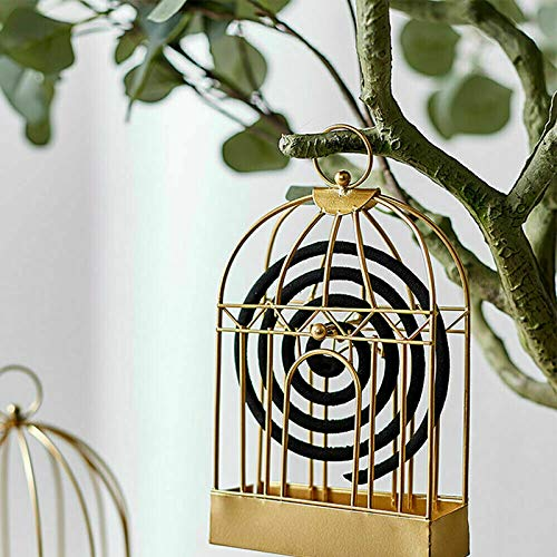 Birdcage Mosquito-Repellent Incense Holder Can Handle Anti Fly Ash,Mosquito Coil Holder Nordic Style Birdcage Shape Summer Iron Rack Plate Home Decoration Holders Gold