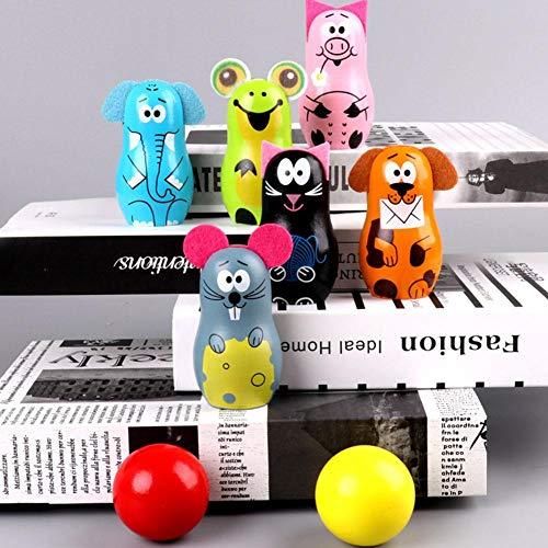 Alomejor Tier Bowling Spielzeug Cartoon Bunte Kinder Bowling Set Holzspiel Bowling Kegel für Kinder Geschenk Hauptdekorationen
