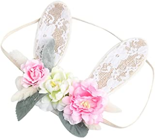 Girls Spring Bunny Ears Headband Birthday Flower Crown Woodland Floral Head Piece