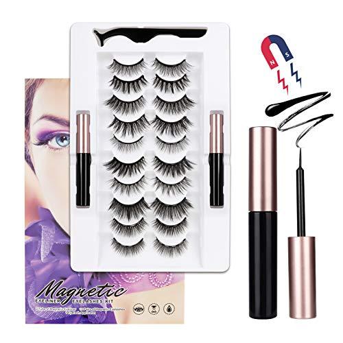 LASHVIEW Magnetic Eyelashes with Eyeliner,Magnetic Eyelashes Kit,Most Natural Look,10 Pairs Magnetic Eyelashes & Double Magnetic Eyeliner,Reusable Magnetic Eyelashes,No Glue Need.