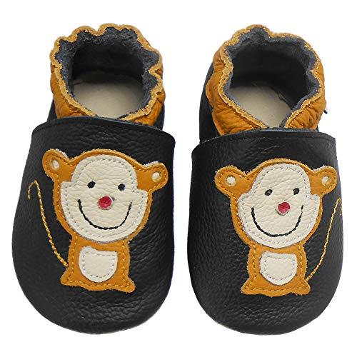 Bemesu Baby Krabbelschuhe Lauflernschuhe Lederpuschen Kinder Hausschuhe aus weichem Leder für Mädchen und Jungen Schwarz Äffchen (M, EU 20-21)