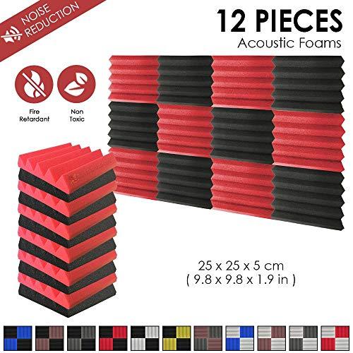 Super Dash (12 Stück) 25 X 25 X 5 cm Keil AKUSTIKNOPPENSCHAUM Studio Behandlung Wand Panel Fliesen dd1134, schwarz / rot, 25 X 25 X 5 cm