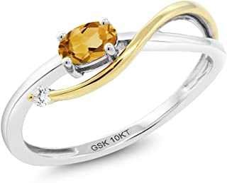 10K 2-Tone Gold 0.22 Ct Yellow Citrine and Diamond Infinity Engagement Ring (Available 5,6,7,8,9)