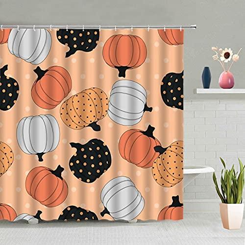 MUMUWUSG Duschvorhang Anti-Schimmel, Wasserdichtes Tuch Küche Cartoon Gemüse Duschvorhang Textil Mit 12 Duschvorhangringen Waschbar Badewanne Vorhang Für Dusche Badewanne 180X180Cm