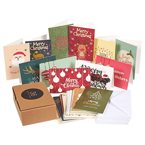 36-Pack Merry Christmas Greeting Cards Bulk Box Set - Assorted Winter Holiday Xmas Kraft Greeting Cards in 36 Cute Designs, Envelopes Included, 4 x 6 Inches