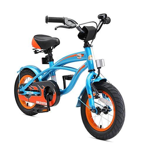 BIKESTAR Vélo Enfant pour Garcons et Filles de 3-4 Ans | Bicyclette Enfant 12 Pouces Cruiser avec Freins | Bleu