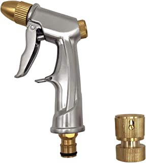 summery life Metal Garden Hose Nozzle Sprayer Heavy Duty, Adjustable Pattern Water Hose Spray Nozzle High Pressure Spray Gun Ergonomic Front Trigger for Cleaning Car Washing Lawn Plant Watering