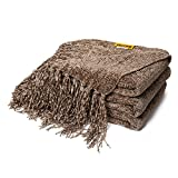 DOZZZ Fluffy Chenille Knitted Throw Blanket with Decorative Fringe for Home Décor Bed Sofa Couch...