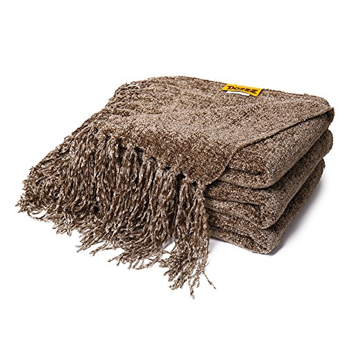 DOZZZ Fluffy Chenille Knitted Throw Blanket with Decorative Fringe for Home Décor Bed Sofa Couch Chair Brown