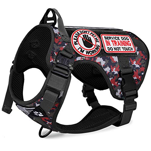 voopet Tactical Dog Harness with 6Pcs Removeable Tags - Adjustable No-Pull Military Service Dog Vest with Hook & Loop Panels for ID Patch, K9 Pet Working Training Molle Vest with Easy Control Handle