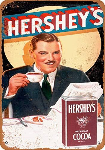 Placa de metal de 20 x 30 cm, diseño de cacao de Hershey\'s Breakfast 1934, decoración para el hogar, bar, sala de café, decoración vintage
