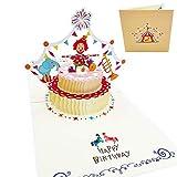 Tarjeta de felicitación de cumpleaños 3D infantil para niños - Postal 3D con Tarta de Cumpleaños y circo con payaso equilibrista - Felicidades
