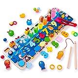 Rolimate Puzzle en Bois Montessori Jouets éducatifs, Jouet de pêche Magnétique, Apprendre à Compter et Les Couleurs Jeu Reconnaissance de Numéro la Forme Puzzle pour 3 4 5 6 Ans garçons Filles