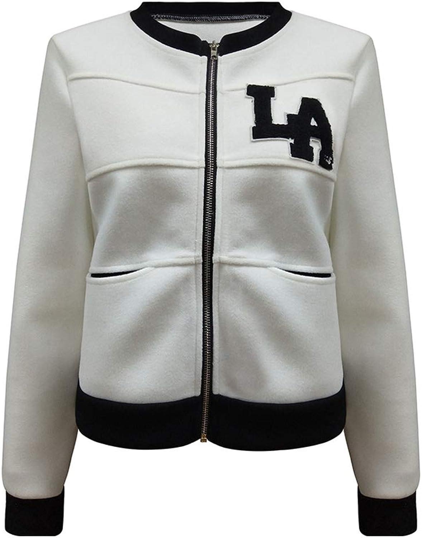 Women Baseball Jacket Zipper Long Sleeve Stand Neck Cardigan Coat With Pocket
