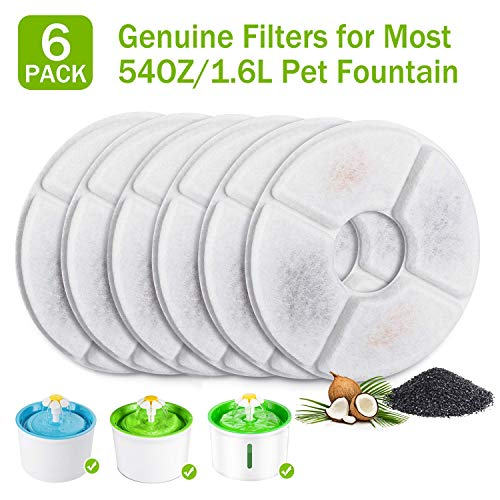 PG.KINWANG Cat Fountain Filters Replacement for 54oz/1.6L Automatic Pet Fountain Cat Water Fountain Dog Water Dispenser,Ion Exchange Resin and Coconut Activated Carbon,Pack of 6