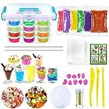 DIY Slime Kit, Schleim Selber Machen Kinder Spielzeug mit 12 Farben Crystal Clay Schlamm, 8 Mini Eisbechern, 9 Obst Schimmel, ungiftige Kristall Schlamm Plastilin Kinder Spielzeug -
