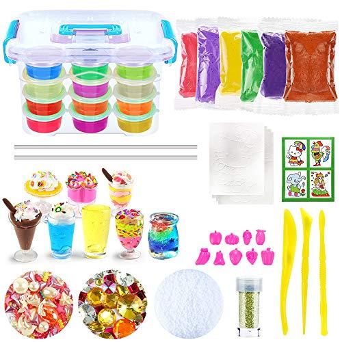 DIY Slime Kit, Schleim Selber Machen Kinder Spielzeug mit 12 Farben Crystal Clay Schlamm, 8 Mini Eisbechern, 9 Obst Schimmel, ungiftige Kristall Schlamm Plastilin Kinder Spielzeug