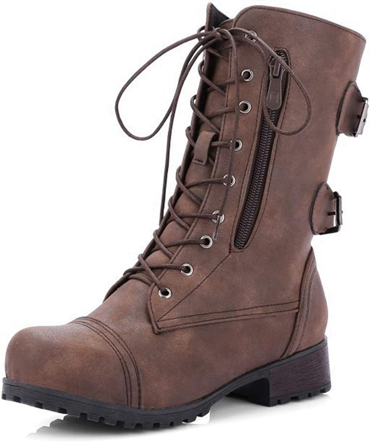 Women's Military Lace Up Mid-Calf Combat Boots Side Zipper Pocket Low Heel Winter shoes(Brown-9 M US)