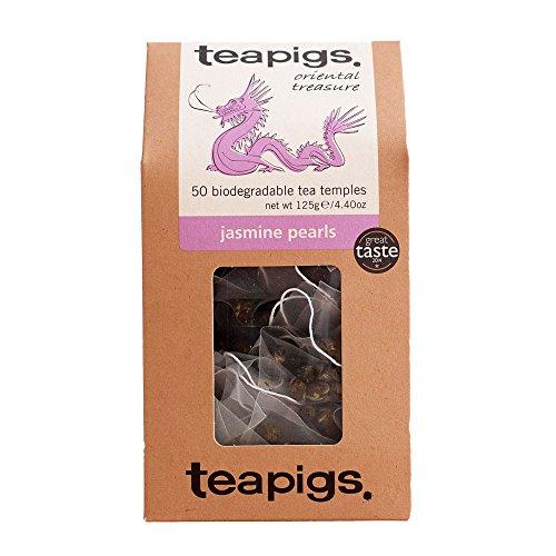 Jasmine Pearls Teebeutel, Hergestellt Aus Ganzen Blättern (1 Packung mit 50 Teebeuteln)