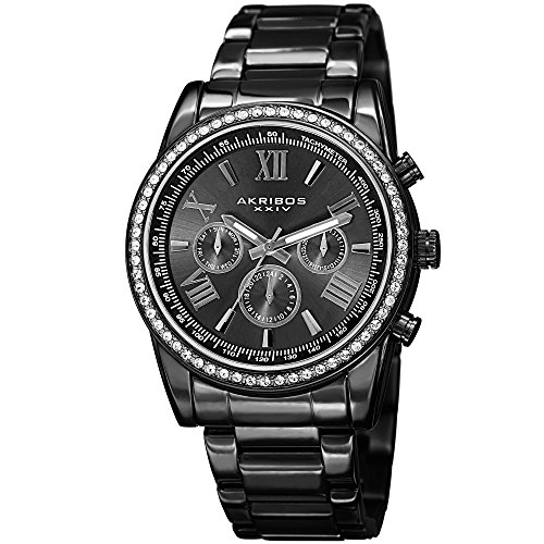 Father's Day Gift! - Akribos Multi-Function Swarovski Crystal Accented Steel Bracelet Watch - Three Hand Movement with Two Time Zones and Date Complication - Men's Ultimate Swiss Watch - AK868 -Black