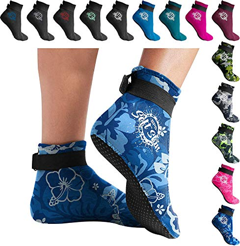 BPS 'Soft Skin' Neoprene Water Socks (Low Cut) - Floral Blue w/White Logo - S