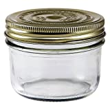 Le Parfait Familia Wiss Terrine - 350ml Wide Mouth French Glass Mason Jar w/ 2-Piece Gold Lid, 12oz (Pack of 6)