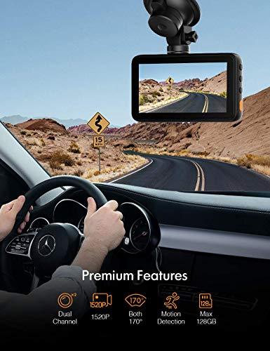 APEMAN 1440P&1080P Dashcam vorne und hinten, Maximal 1520P, 128 GB Unterstützung, 170° Dashcam Autokamera mit 3 Zoll IPS-Bildschirm, Nachtsicht mit IR-Sensor, Bewegungserkennung, Einpark-Monitor - 4